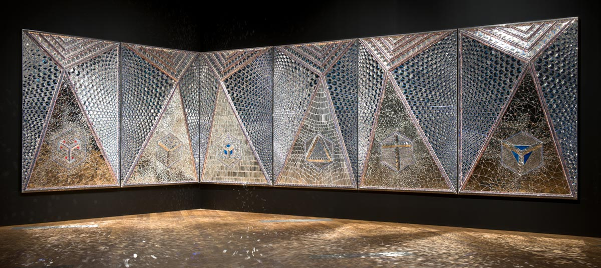 Monir Shahroudy Farmanfarmaian / Iran, b.1924 / Lightning for Neda 2009 / Mirror mosaic, reverse-glass painting, plaster on wood / The artist dedicates this work to the loving memory of her late husband Dr Abolbashar Farmanfarmaian. Purchased 2009. Queensland Art Gallery Foundation / Collection: Queensland Art Gallery /  QAGOMA Photography / © The artist