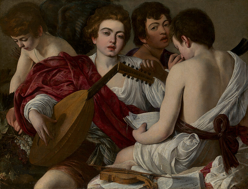 Caravaggio  / The Musicians 1597 / Oil on canvas / 92.1 x 118.4cm / Rogers Fund 1952 / 52.81 / Collection: The Metropolitan Museum of Art