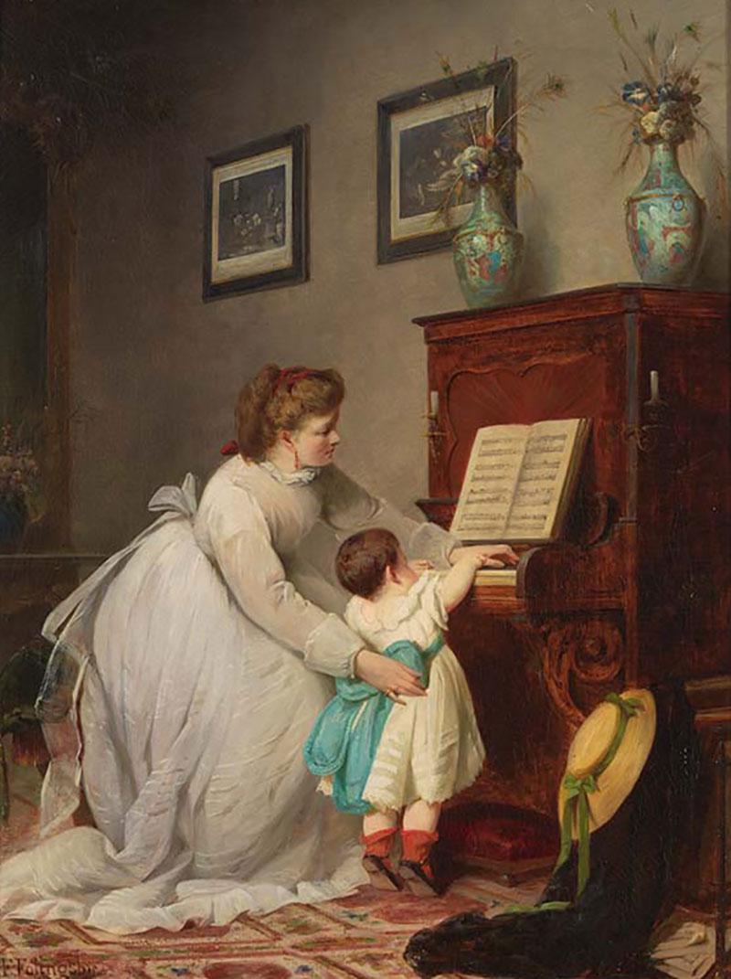 G.F. Folingsby, Germany/Australia 1828-91 / The first lesson 1869