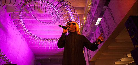 Omar Souleyman performs under Huang Yong Ping's Ressort 2012 during APT7 / December 2012 / Photograph: Brodie Standen