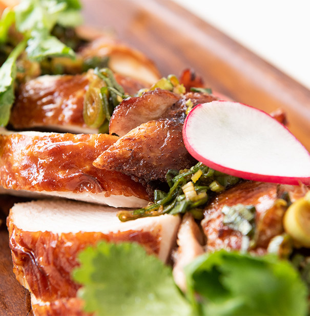 Poached salmon with fennel and herb salsa