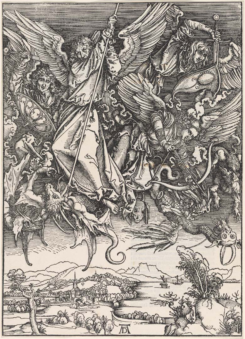 Albrecht Dürer , Germany 1471–1528 / St Michael Fighting the Dragon (from 'The Apocalypse' series) c.1497-98, Latin edition, 1511