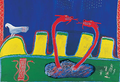 Ginger Riley Munduwalawala, Garimala (The Two Snakes) 1988