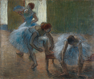 Edgar Degas, France  1834 1917 / Trois danseuses a la classe de danse (Three dancers at a dance class)  c.1888 90 / Oil on cardboard / Purchased 1959 with funds donated by Major Harold de Vahl Rubin / Collection: Queensland Art Gallery /