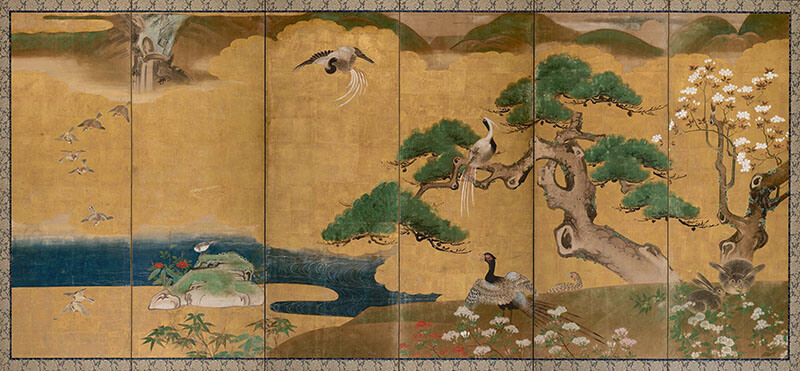 Kanō School, Japan, Pair of six fold screens with birds and rabbits 17th century