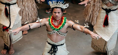 Brisbane Kiribati community performing in response to the 'Tungaru: The Kiribati Project' at the opening weekend of 'The Asia Pacific Triennial of Contemporary Art' (APT9) / Photograph: Joe Ruckli