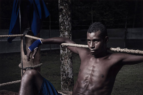 Taloi Havini / Mathew in the blue corner, Buka (from 'Blood Generation' series) 2011
