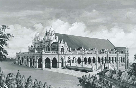 Architect's drawing of Exhibition Building, Gregory Terrace, 1858-1922