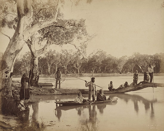 Group of local Aboriginal people, Chowilla Station, Lower Murray River, South Australia 1886