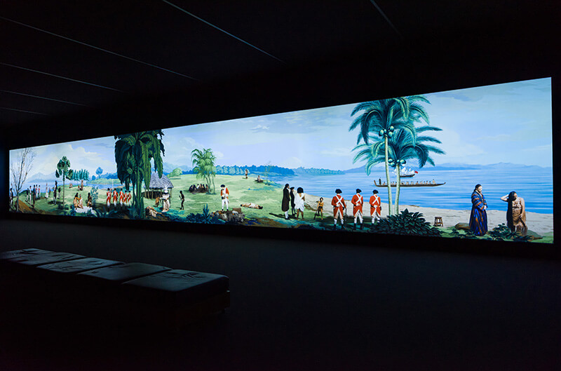 Lisa Reihana, Ngā Puhi, Ngāi Tu, Ngāti Hine, Aotearoa New Zealand b.1964 / Installation view of in Pursuit of Venus [infected] 2015–17