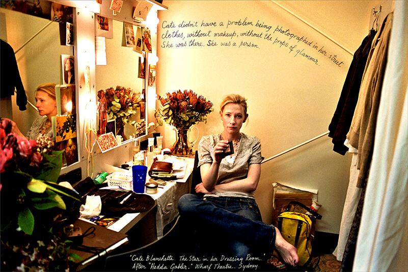William Yang, Australia b.1943 / Cate Blanchett. The Star in Her Dressing Room. After Hedda Gabler. Wharf Theatre, Sydney 2004