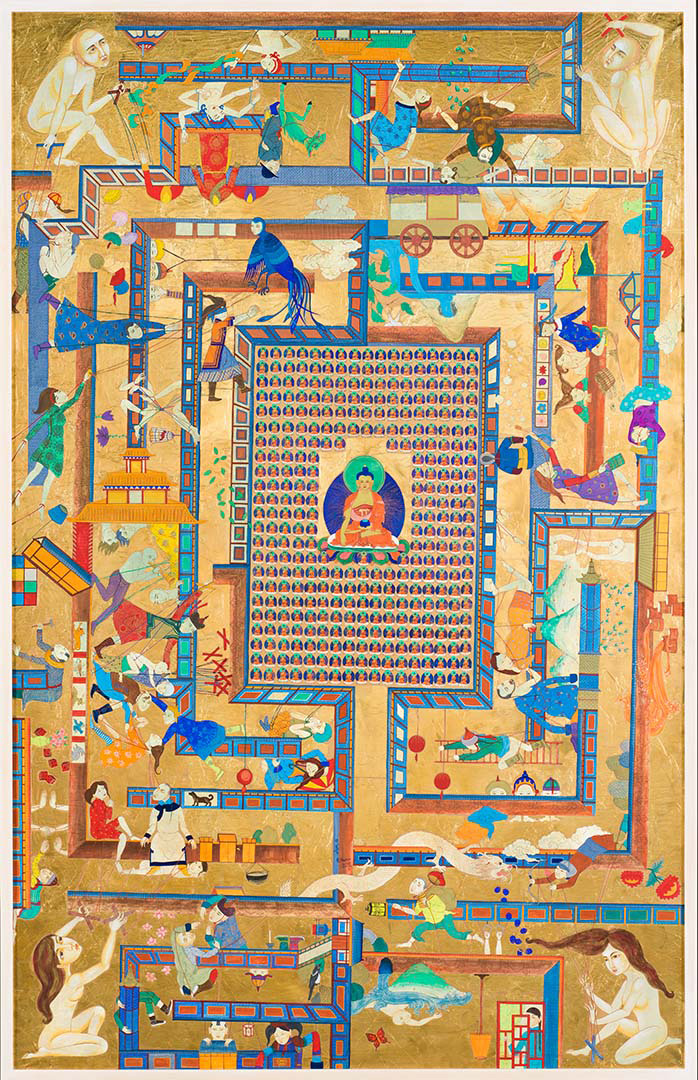 Nomin Bold, Mongolia b.1982 / Labyrinth game 2012 / Synthetic polymer paint and gold leaf on canvas / Purchased 2015 with funds from Ashby Utting through the Queensland Art Gallery | Gallery of Modern Art Foundation / Collection: Queensland Art Gallery / ©: The artist