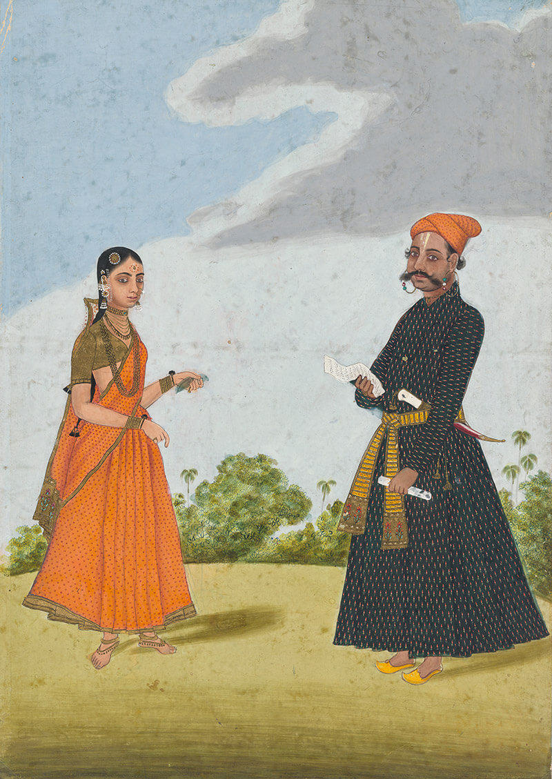 Indian Company School (Tanjore), India / Hindu scribe and his wife c.1790