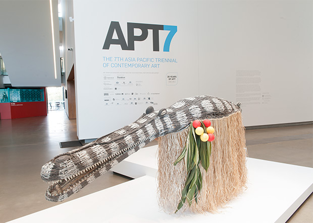 Exhibition entrance signage acknowledges APT7 exhibition supporters / Photograph: Mark Sherwood