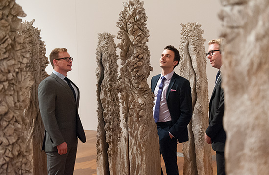 Chairman's Circle members and guests explore Shigeo Toya's Woods III 1991-92 at GOMA 2014 / The Kenneth and Yasuko Myer Collection of Asian Art. Purchased 1994 with funds from The Myer Foundation and Michael Sidney Myer through th e QAGOMA Foundation and with assistance of the International Exhibitions program / GOMA / December 2014.