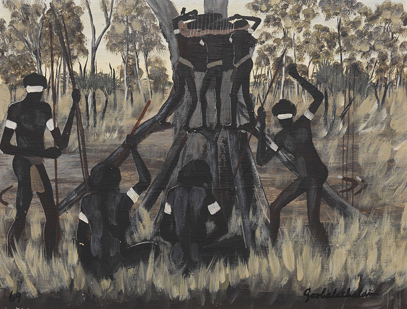 Goobalathaldin Dick Roughsey, Australia 1924-1985 / Hollow tree burial, Mornington Island 1969