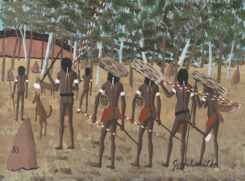 Goobalathaldin Dick Roughsey, Australia 1924-1985 / Tribe on the move in the past, Cape York 1983