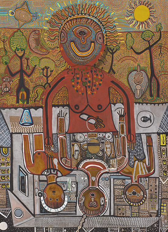 Trevor Nickolls, Australia 1949-2012 / From Dreamtime 2 Machinetime 1979 / Oil on canvas / Purchased 1989 under the  Contemporary Art Acquisition Program  with funds from Brian and Rosemary  White through the Queensland Art  Gallery Foundation /  Collection:  Queensland Art Gallery / © Trevor Nickolls/Licensed by Viscopy, 2015