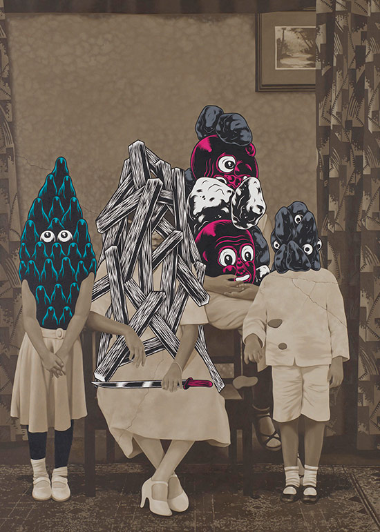 RiyadaI, Wedhar / Indonesia b.1980/ <em>Noise from the fertile land (Keributan dari Negara subur) no. 3</em> 2012 / Oil on canvas / Purchased 2012. Queensland Art Gallery Foundation / Collection: Queensland Art Gallery