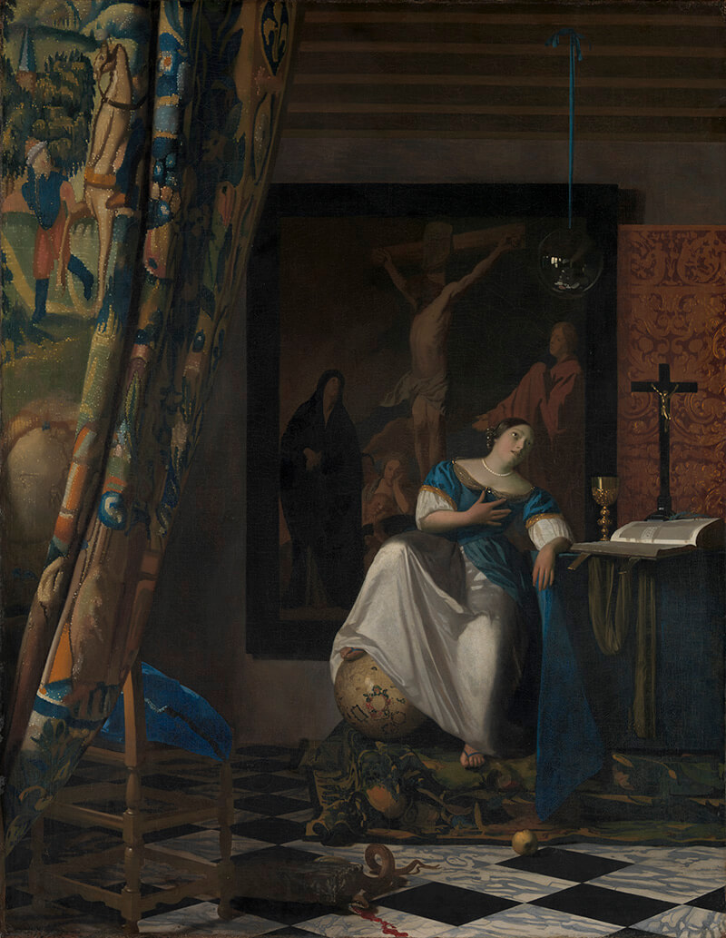 Johannes Vermeer / Allegory of the Catholic Faith c.1670–72 / Oil on canvas / 114.3 x 88.9cm / The Friedsam Collection, Bequest of Michael Friedsam 1931 / 32.100.18 / Collection: The Metropolitan Museum of Art