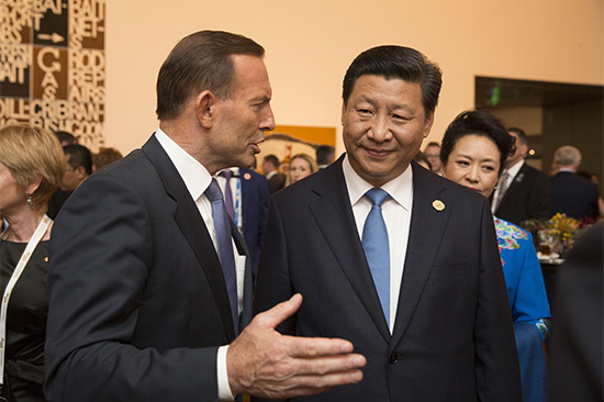 Prime Minister Tony Abbott and China's President Xi Jinping at GOMA