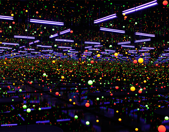 Yayoi Kusama, Japan b.1929 / Soul under the moon 2002 / Mirrors, ultra violet lights, water, plastic, nylon thread, timber, synthetic polymer paint / The Kenneth and Yasuko Myer Collection of Contemporary Asian Art. Purchased 2002 with funds from Michael Sidney Myer and The Myer Foundation, a project of the Sidney Myer Centenary Celebration 1899-1999, through the Queensland Art Gallery Foundation and The Yayoi Kusama Queensland Art Gallery Foundation Appeal / Collection: Queensland Art Gallery / © Yayoi Kusama, Yayoi Kusama Studio Inc